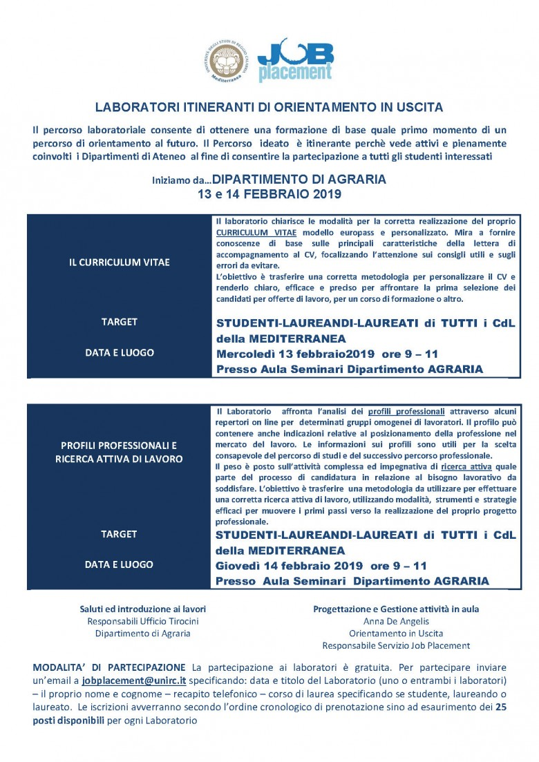 Universita Degli Studi Mediterranea Articoli Job Placement